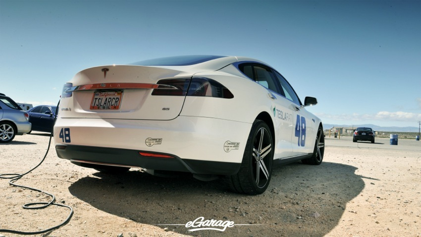 Teslarati Model S Rear at Willow Springs