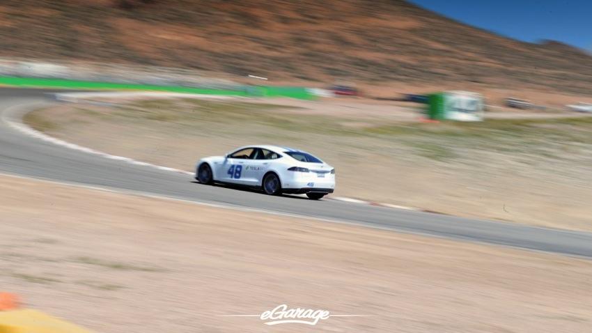 Teslarati Model S Blur Rear at Willow Springs